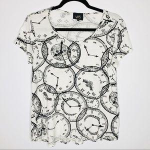 Anthropologie W5 Black & White Clock Print Shirt